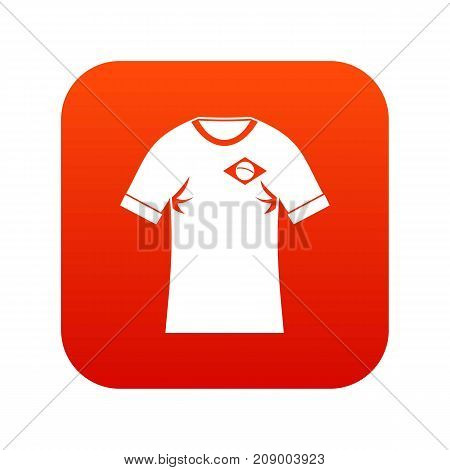 Shirt with the flag of Brazil sign icon digital red for any design isolated on white vector illustration
