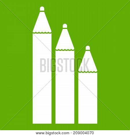 Three pencils icon white isolated on green background. Vector illustration