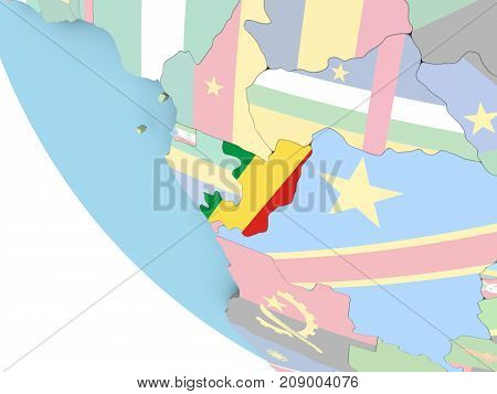 Congo With Flag On Globe