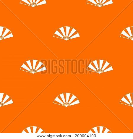 Chinese fan pattern repeat seamless in orange color for any design. Vector geometric illustration