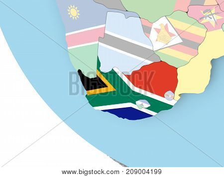 South Africa With Flag On Globe
