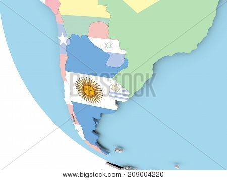 Argentina With Flag On Globe