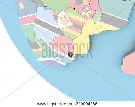 Swaziland With Flag On Globe