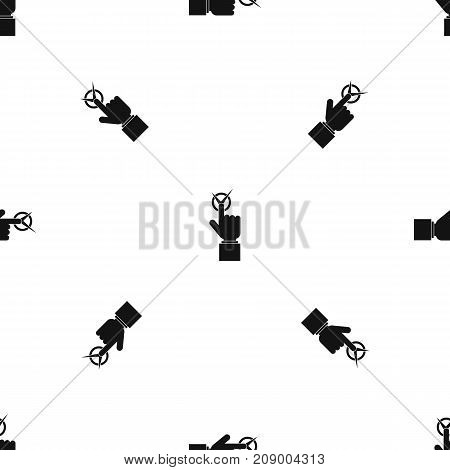 Hand finger pressing button with tick pattern repeat seamless in black color for any design. Vector geometric illustration