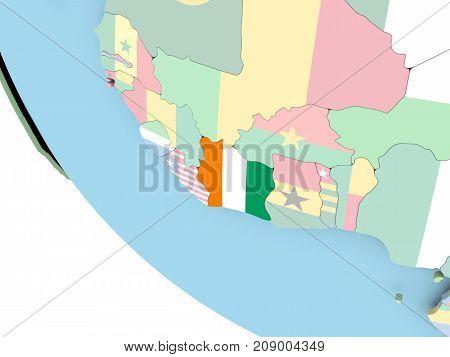 Ivory Coast With Flag On Globe