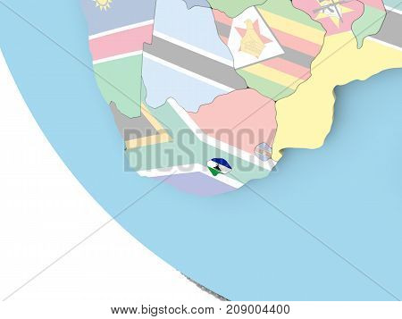 Lesotho With Flag On Globe