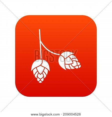 Branch of hops icon digital red for any design isolated on white vector illustration
