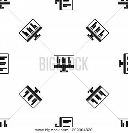 Business graph at computer screen pattern repeat seamless in black color for any design. Vector geometric illustration