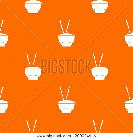 Bowl of rice with chopsticks pattern repeat seamless in orange color for any design. Vector geometric illustration