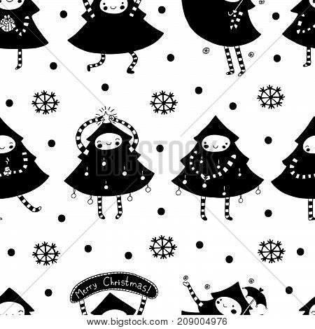 Sweet Christmas tree merry seamless pattern. Cute holiday illustration.