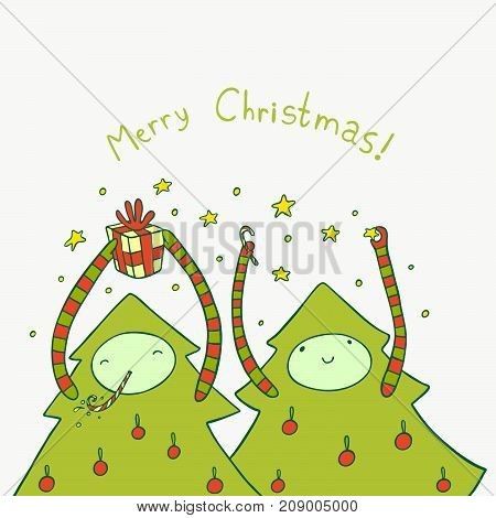Two lovely Christmas trees have fun. Cute holiday illustration.