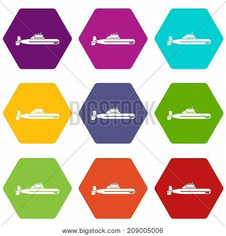 Submarine icon set many color hexahedron isolated on white vector illustration