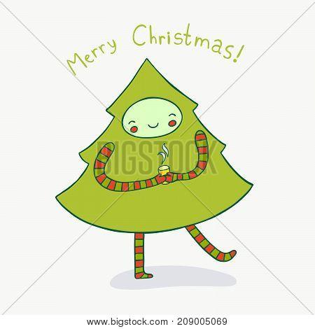 Cute Christmas tree enjoying a hot drink. Cute holiday illustration.