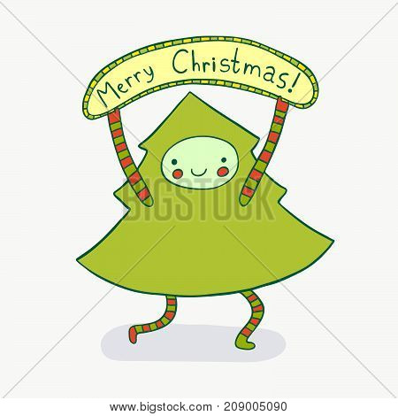 Cute Christmas tree wishing Merry Christmas. Lovely holiday illustration.