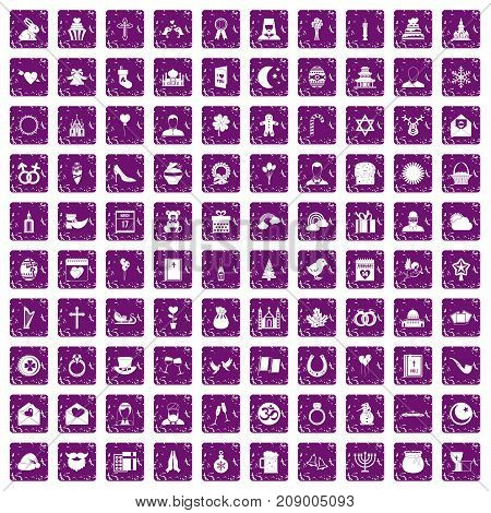 100 religious festival icons set in grunge style purple color isolated on white background vector illustration