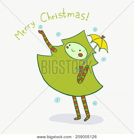 Lovely Christmas tree enjoys winter snow. Cute holiday illustration.