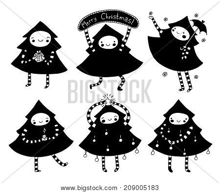 Sweet Christmas tree set of characters in black and white. Cute holiday illustration.