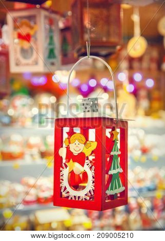 Christmas decorations and lantern on a Christmas market