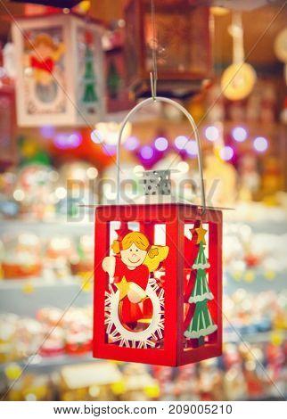 Christmas decorations and lantern on a Christmas market