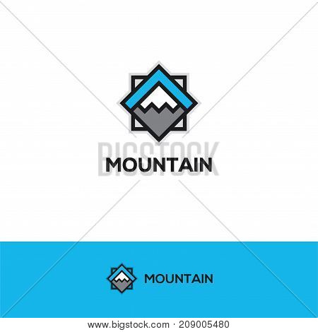 Abstract geometric mountain icon. Snow peak symbol. Winter sport, travel, adventure logo.