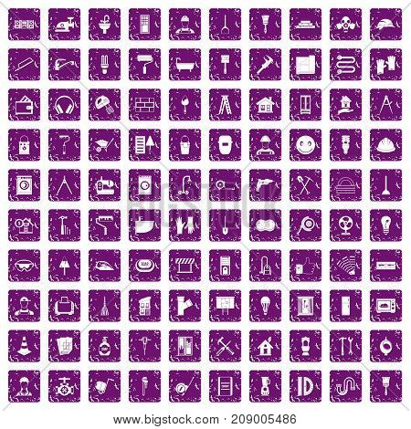100 renovation icons set in grunge style purple color isolated on white background vector illustration