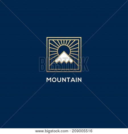 Square linear mountain and sun logo. Luxury geometric nature hill snow peak symbol.
