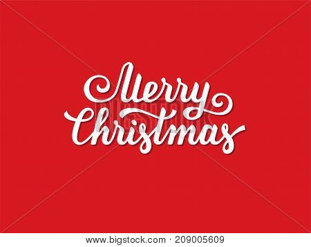 Merry Christmas hand drawn text font type composition. Calligraphy lettering xmas greeting card banner or poster design on red background.