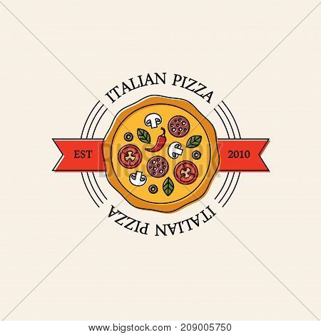 Bright italian pizza logo emblem or label. Pizzeria cafe or restaurant menu design element. Pepperoni icon.
