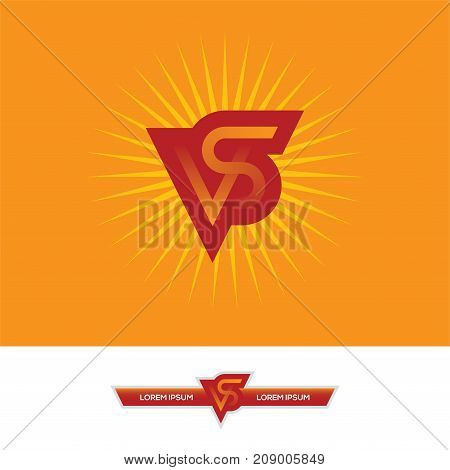 VS letters icon logo emblem or monogram design in red and orange colors. Versus banner for game or sport match competition or tournament.