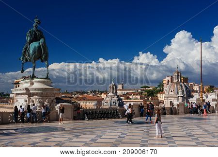 ROME, ITALY - MAY 20: Tourists visit Vittoriano Monument (Altar of Nation) panoramic terrace MAY 20, 2017 in Rome, Italy