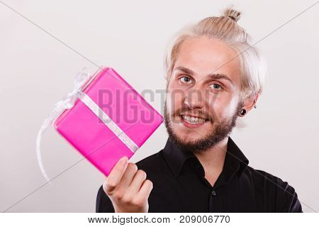 Man Holding Present Pink Gift Box In Hand