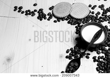 Coffee beans and milk and cookies black and white poster