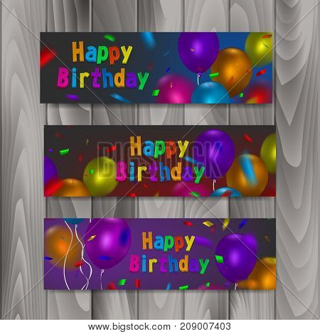 Happy birthday banners, set of banners with colorful realistic balloons, vector eps 10 illustration