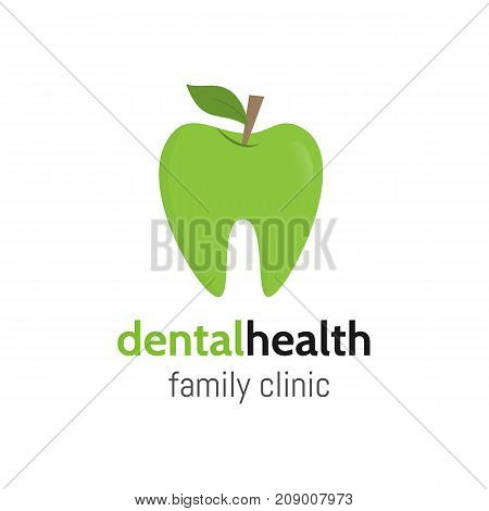 Dental health. Tooth logo as a green apple with leaf. Dental family clinic Logotype. Vector teeth.