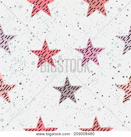 Cute seamless pattern with hand drawn stars