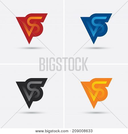 Set of four VS letters in different colors. Versus logo icon monogram emblem for game or sport match competition or tournament.