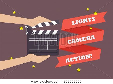 Hands holding movie clapper board. Vector illustration