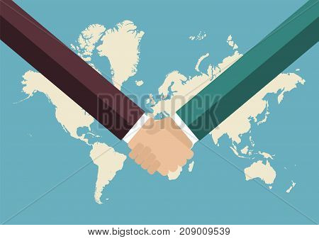 Partnership handshake with world map background. Business concept