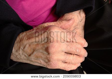 Hands of an elderly woman with wrinkles, prominent veining