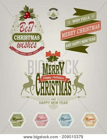 Christmas logo, label of different shades with deer and text, set
