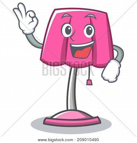 Okay furniture lamp character cartoon vector illustration