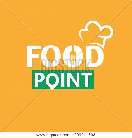 Food logo template. Design elements with spoon and fork. Minimalistic vector logo isolated on yellow background.