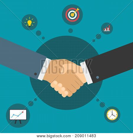 Handshake of business partners. Successful deal. Business partnership. Flat illustration with icons.