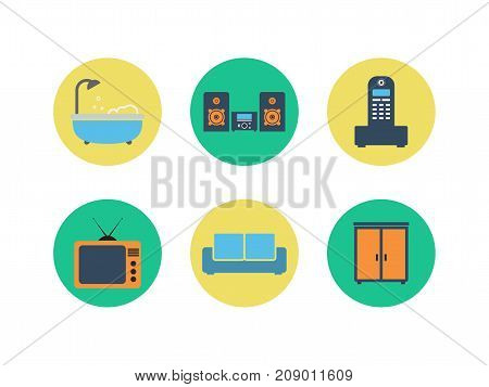 Set of colorful vector interior design. Color flat icons.