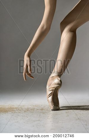 Sensual ballerina is posing in the studio on the gray background. She stands on the toe and holds the arm next to the leg. Girl wears beige pointe shoes. Closeup. Vertical.