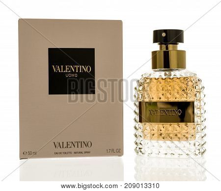 Winneconne WI - 11 October 2017: A bottle of Valentino eau de toilette colgone on an isolated background.