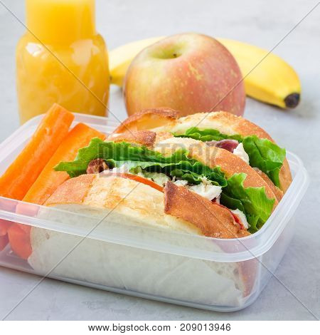 Lunch box with chicken salad sandwiches served with carrot sticks. Fruits and juice on background square format