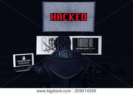 Anonymous Hacking With 3 Monitors And Getting The Password Of The Victim