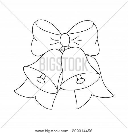 Christmas jingle bells with bow black and white colors vector illustration