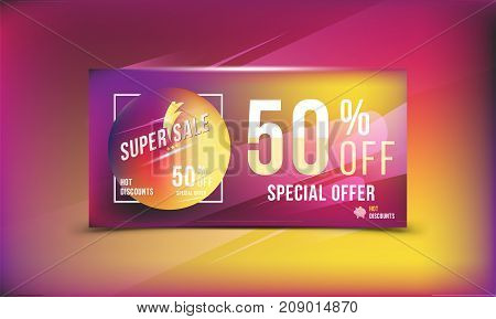 Super Sale 50 Discount Bright Rectangular Poster Format And Flyer. Template For Design Advertising A